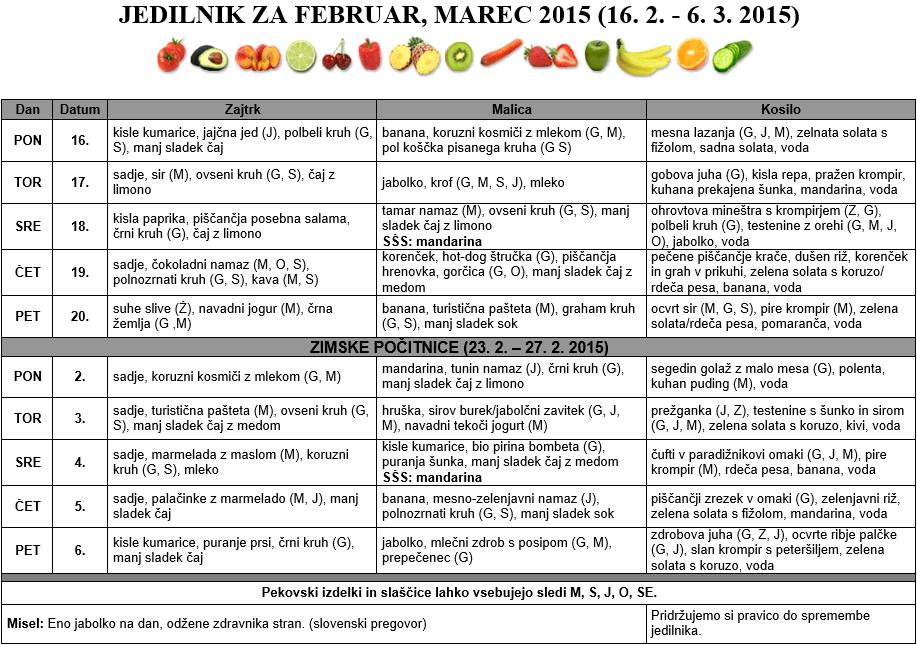 JEDILNIK ZA FEBRUAR, MAREC 2015 (16. 2. - 6. 3. 2015)