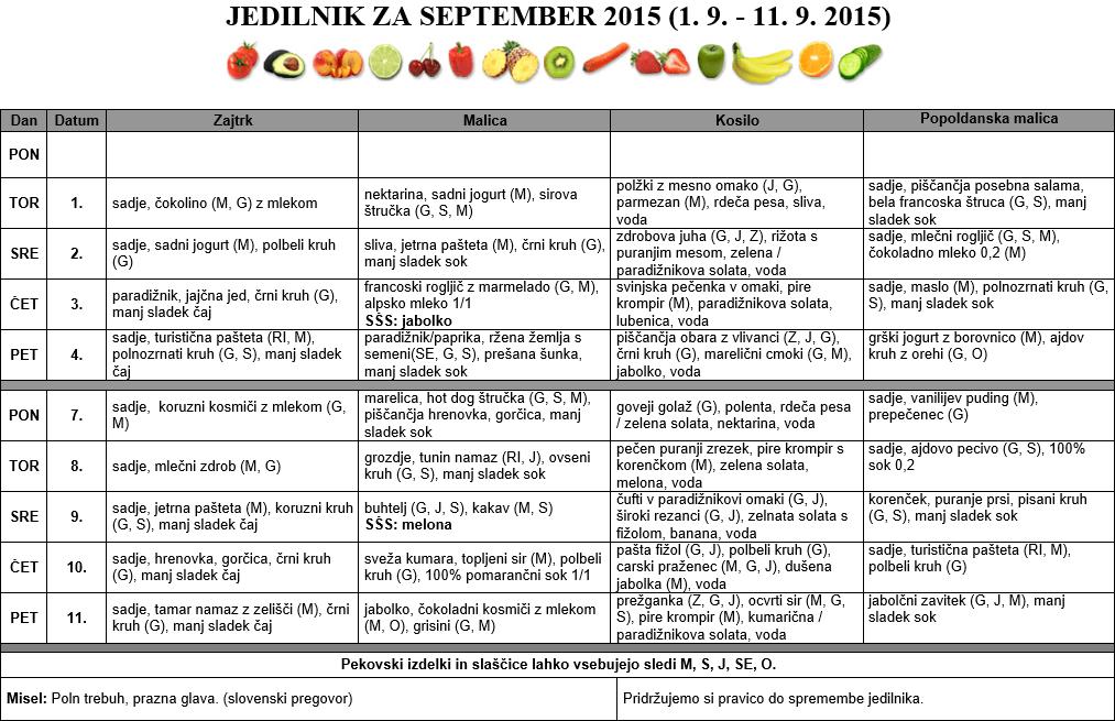 JEDILNIK ZA SEPTEMBER 2015 (1. 9. - 11. 9. 2015)