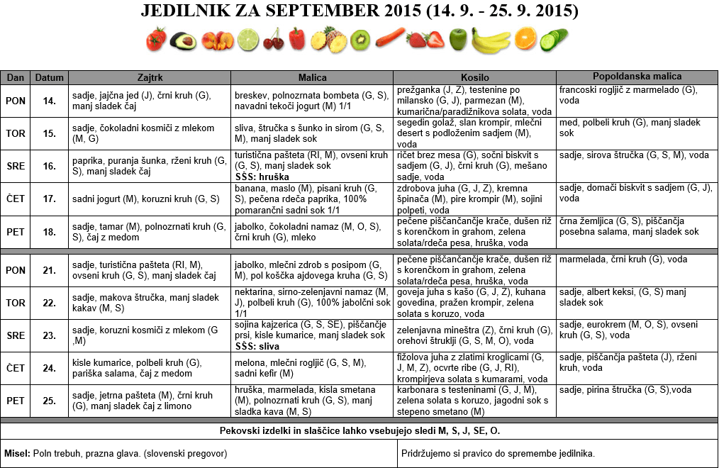 JEDILNIK ZA SEPTEMBER 2015 (14. 9. - 25. 9. 2015)